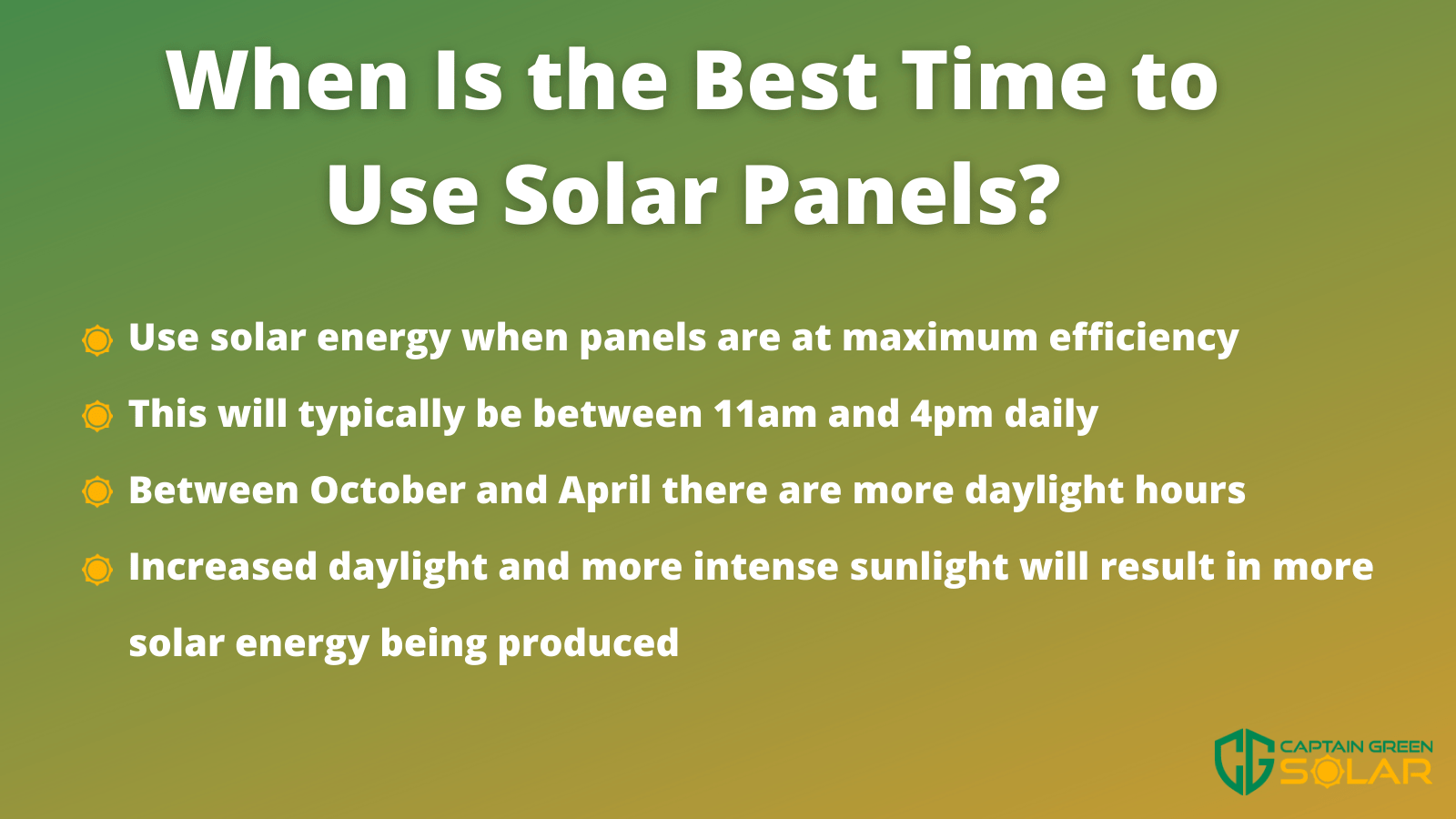 the best time to use solar panels infographic