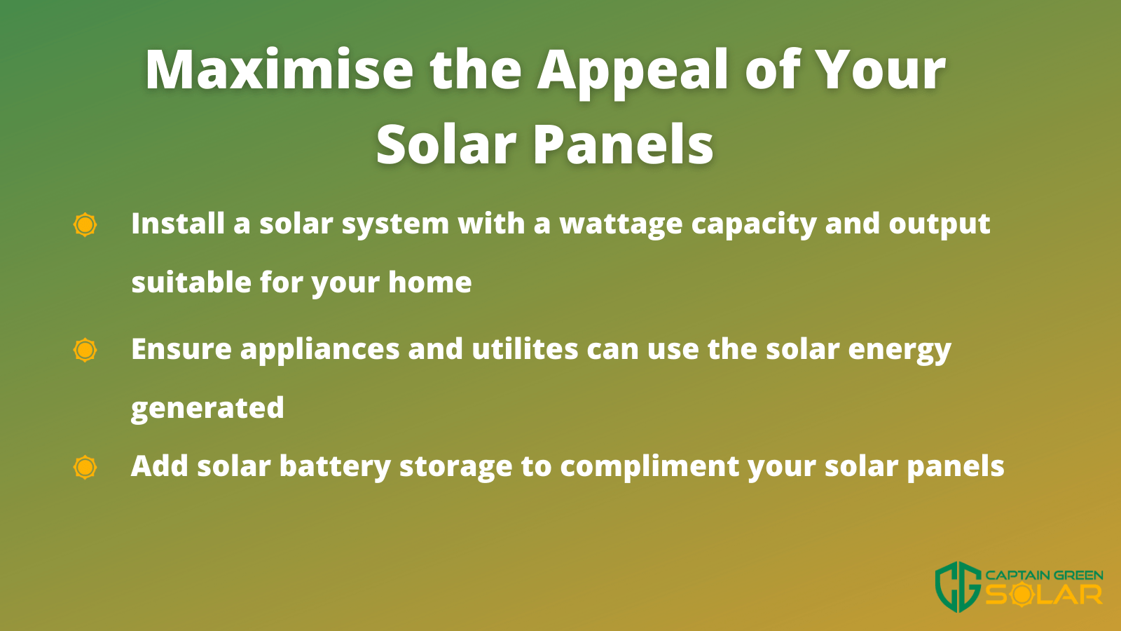 maximise appeal with solar panels