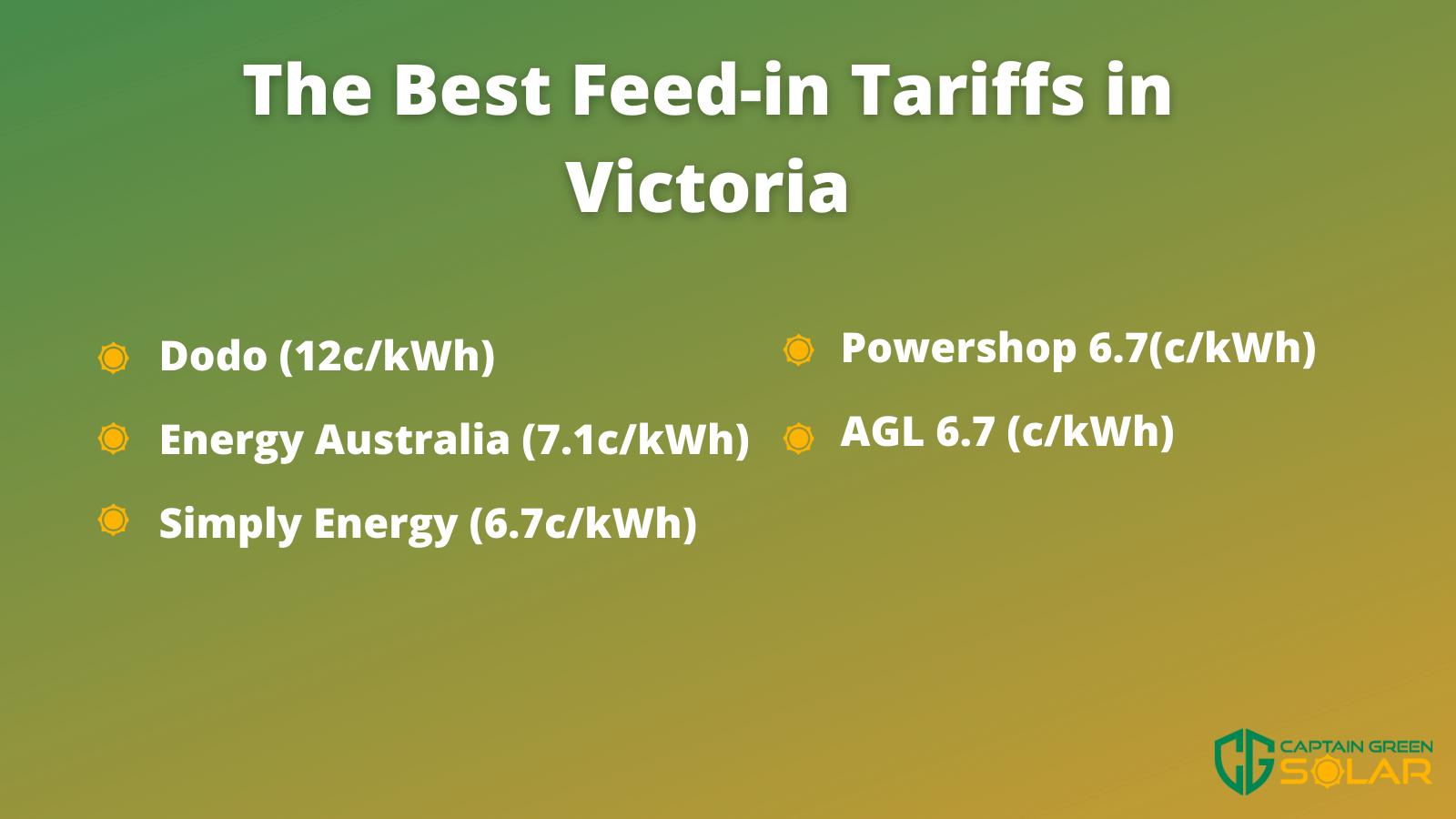 Solar Rebate Victoria feed in tarrifs